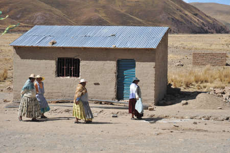 bolivian: Residents of the Bolivian mountain villages in the Altiplano. Editorial