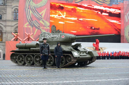 t34: T-34 tank on parade-reconstruction at Red Square in Moscow. Editorial