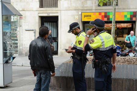 The police on the Rambla
