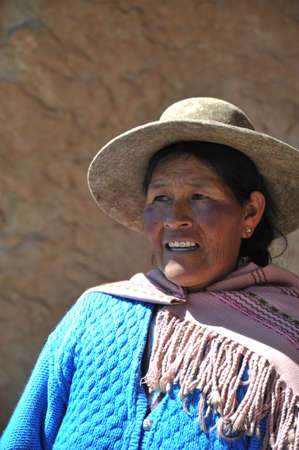 unidentified: Unidentified Bolivian woman with valleys Altiplano