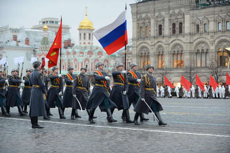 epaulettes: Russian soldiers at the parade on November 7 at the Red Square in Moscow.
