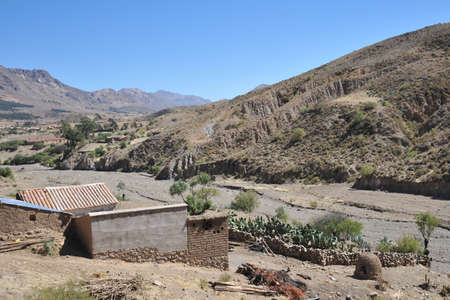 bolivian: Mountain Bolivian villages in the Altiplano. Stock Photo