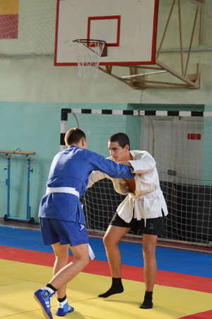 sambo: Classes in Sambo in the gym in Novocherkassk Suvorov military school of the Ministry of internal Affairs of the Russian Federation. Editorial