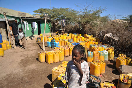 One of the largest refugee camps for African refugees and displaced people on the outskirts of Hargeisa under auspices of UN. Point of delivery of drinking water. Editorial