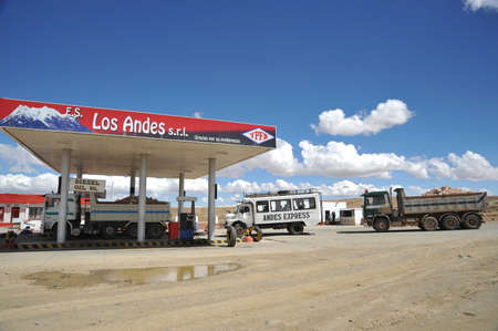 petrol station: Petrol station on the road in the Altiplano