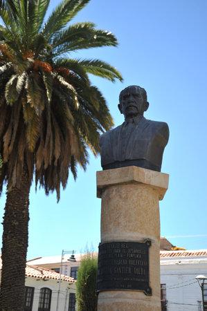 joaquin: Bust Joaquin Gantier Valda in the city of Sucre.