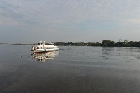 volga: Ship sailing along the Volga
