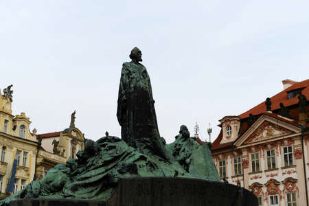 stare mesto: Jan Hus Memorial on Old Town Square, Stare Mesto view, Prague, Czech Republic. Erected on July 6,1915