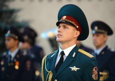 The honour guard of interior Ministry troops of Russia.