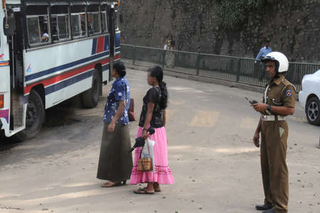 kandy: Police on the streets of Kandy.