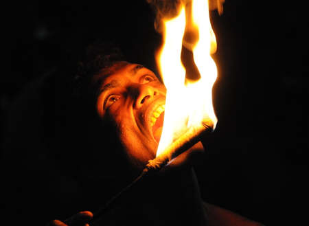 kandy: Fire eater from Kandy town Editorial