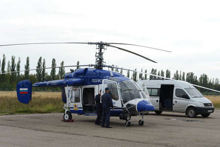 Police helicopter KA-226 at the airport.