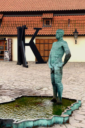 franz: Sculpture at the entrance to the Franz Kafka Museum. Editorial