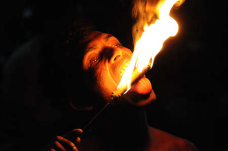 kandy: Fire eater from Kandy town. Editorial
