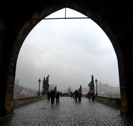 vltava: Charles bridge - medieval bridge in Prague over the river Vltava. Editorial