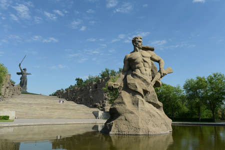 volgograd: The monument the Motherland calls! sculpture of a Soviet soldier to fight to the death! at the memory alley in the city of Volgograd. Editorial