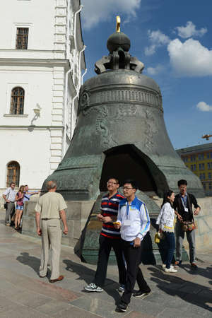 tsar: Tourists near the Tsar bell in the Moscow Kremlin.