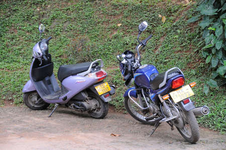 kandy: Motorcycles in the Parking lot in the city of Kandy.