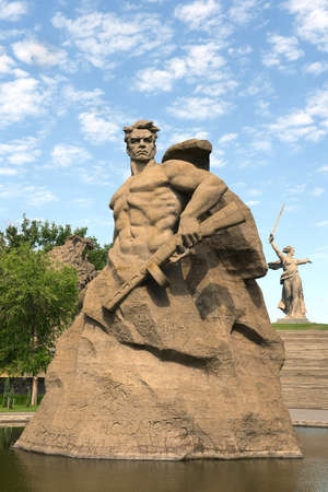 The monument the Motherland calls! sculpture of a Soviet soldier to fight to the death! at the memory alley in the city of Volgograd. Sajtókép