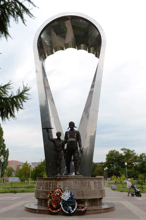 parachute jump: A monument Voronezh - birthplace of the Navy, the first paratroopers who have made a group parachute jump. Editorial