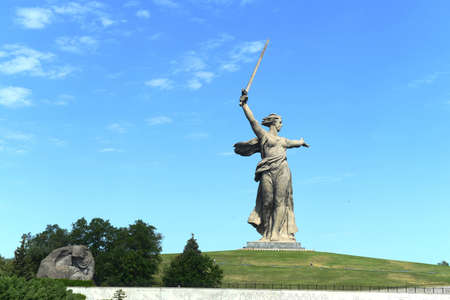 The monument the Motherland calls of the Mamaev Kurgan in Volgograd