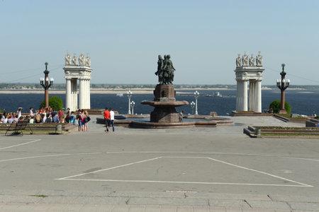 volgograd: Central embankment of the Volga river in Volgograd.