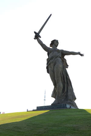 major battle: The monument the Motherland calls of the Mamaev Kurgan in Volgograd. Editorial