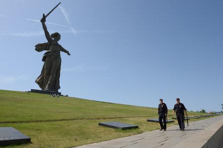 major battle: Police officers patrolling the area of Mamayev Kurgan in Volgograd.