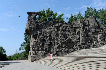 volgograd: The bas-relief on the walls-the ruins of the monument-ensemble to Heroes of Stalingrad battle on Mamaev Kurgan in Volgograd.