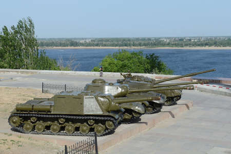 armaments: Military equipment during the Second world war on the citys waterfront at the Museum Battle of Stalingrad.
