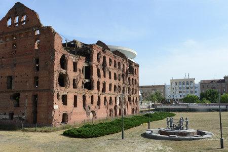 seconda guerra mondiale: Il memoriale fu la battaglia di Stalingrado durante la seconda guerra mondiale del 1941-1945. mulino in rovina.
