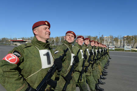 troops: The soldiers of internal troops of the MIA of Russia are preparing to parade in red square Editorial