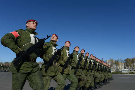 troops: The soldiers of internal troops of the MIA of Russia are preparing to parade in red square.