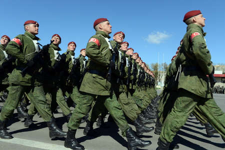 troops: The soldiers of internal troops of the MIA of Russia are preparing to parade on red square. Editorial