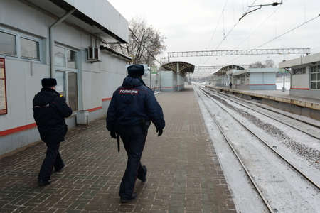 road shoulder: Police on a railway platform of the station Moskva Editorial