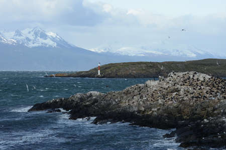 tierra del fuego: The Beagle channel separating the main island of the archipelago of Tierra del Fuego and lying to the South of the island Stock Photo
