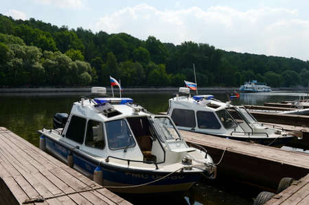 patrol: Water police patrol boat on the Moscow River Editorial