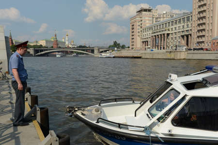 raid: Water police patrol boat on the Moscow River. Editorial