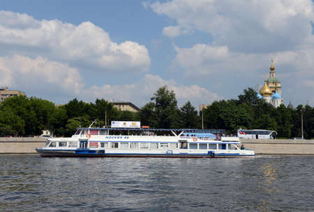 pleasure craft: Pleasure boat on the Moscow river. Editorial