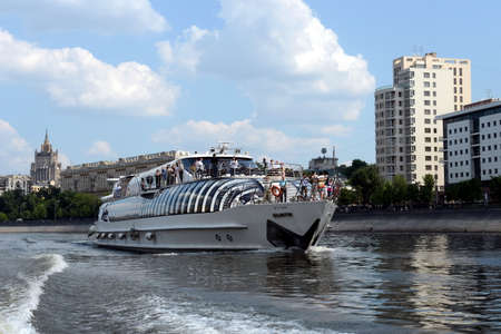 pleasure boat: Pleasure boat Beauty on the river Moscow. Editorial