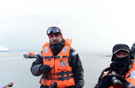 disembark: Tourists disembark from cruise ship Via Australis on Cape horn. Editorial