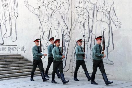 volgograd: The change of the guards at Mamayev hill in Volgograd. Editorial