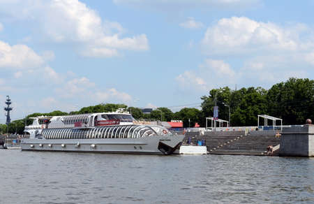 pleasure craft: The boat Montana on the river Moscow. Editorial