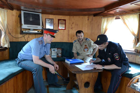boatman: Employees of the transport police check the documents of the ship is the captain. Editorial