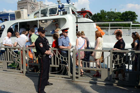 pleasure boat: Graduates of schools on tours of the Moscow river on a pleasure boat.