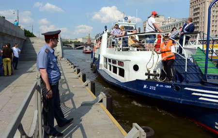 pleasure craft: Pleasure boat moored to the pier on the Moscow river. Editorial
