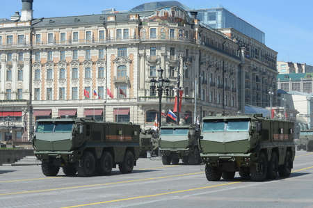 armored car: Rehearsal of parade in honor of Victory Day in Moscow. Armored car universal high security the Mine Resistant Ambush Protected (MRAP) KAMAZ-63968 Typhoon. Editorial