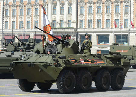 armoured: The BTR-82A is an Russian 8x8 wheeled amphibious armoured personnel carrier (APC). Editorial