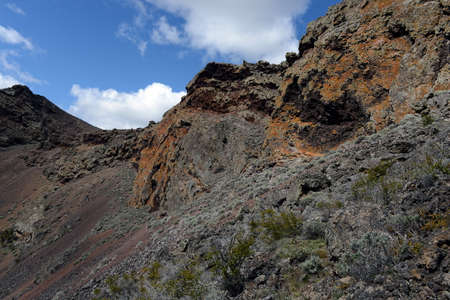 abode: Extinct volcano the abode of the devil in the national Park Pali Aike in the South of Chile.