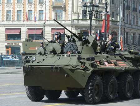 ail: The BTR-82A is an Russian 8x8 wheeled amphibious armoured personnel carrier (APC) with Marines.